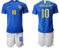 Mens 19-20 Soccer Brazil National Team #10 Ronaldinho Coutinho Blue Away Nike Short Sleeve Suit Jersey