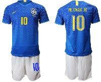 Mens 19-20 Soccer Brazil National Team #10 Neymar Jr Blue Away Nike Short Sleeve Suit Jersey