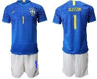 Mens 19-20 Soccer Brazil National Team #1 Alisson Blue Away Nike Short Sleeve Suit Jersey