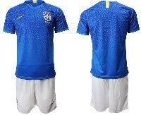 Mens 19-20 Soccer Brazil National Team Blank Blue Away Nike Short Sleeve Suit Jersey