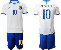 Mens 19-20 Soccer Brazil National Team #10 Neymar Jr White Nike Short Sleeve Suit Jersey