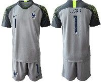 Mens 19-20 Soccer France National Team #1 Lloris Gray Goalkeeper Nike Short Sleeve Suit Jersey