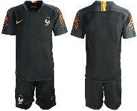 Mens 19-20 Soccer France National Team Blank Black Goalkeeper Nike Short Sleeve Suit Jersey