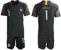 Mens 19-20 Soccer France National Team #1 Lloris Black Goalkeeper Nike Short Sleeve Suit Jersey
