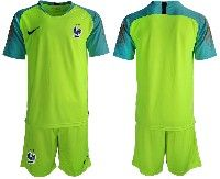 Mens 19-20 Soccer France National Team Blank Green Goalkeeper Nike Short Sleeve Suit Jersey