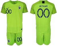 Mens 19-20 Soccer France National Team ( Custom Made ) Fluorescent Green Goalkeeper Nike Short Sleeve Suit Jersey