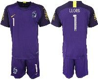 Mens 19-20 Soccer France National Team #1 Lloris Purple Goalkeeper Nike Short Sleeve Suit Jersey