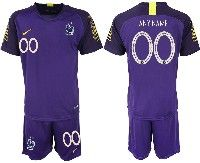 Mens 19-20 Soccer France National Team ( Custom Made ) Purple Goalkeeper Nike Short Sleeve Suit Jersey