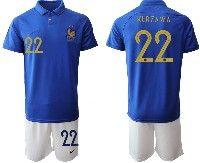 Mens 19-20 Soccer France National Team #22 Lucas Hernandez Blue Home Short Sleeve Suit Jersey