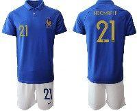 Mens 19-20 Soccer France National Team #21 Ndombele Blue Home Short Sleeve Suit Jersey