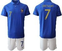 Mens 19-20 Soccer France National Team #7 Antoine Griezmann Blue Home Short Sleeve Suit Jersey