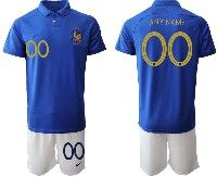 Mens 19-20 Soccer France National Team ( Custom Made ) Blue Home Short Sleeve Suit Jersey