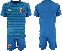 Mens 19-20 Soccer Colombia National Team ( Custom Made ) Blue Goalkeeper Short Sleeve Suit Jersey