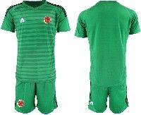Mens 19-20 Soccer Colombia National Team ( Custom Made ) Green Stripe Goalkeeper Short Sleeve Suit Jersey