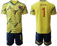 Mens 19-20 Soccer Colombia National Team #1 David Ospina Yellow Home Adidas Short Sleeve Suit Jersey