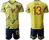Mens 19-20 Soccer Colombia National Team #13 Yerry Fernando Mina Gonzalez Yellow Home Adidas Short Sleeve Suit Jersey