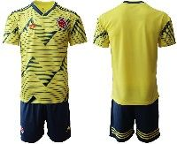 Mens 19-20 Soccer Colombia National Team Blank Yellow Home Adidas Short Sleeve Suit Jersey
