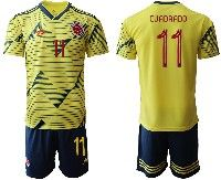 Mens 19-20 Soccer Colombia National Team #11 Juan Cuadrado Yellow Home Adidas Short Sleeve Suit Jersey