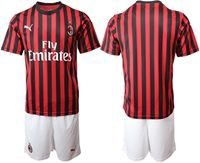 Mens 19-20 Soccer Ac Milan Club ( Blank ) Red And Black Stripe Home Short Sleeve Suit Jersey