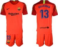 Mens 19-20 Soccer Barcelona Club #13 Jasper Cillessen Red Goalkeeper Short Sleeve Suit Jersey