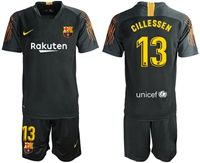 Mens 19-20 Soccer Barcelona Club #13 Jasper Cillessen Black Goalkeeper Short Sleeve Suit Jersey
