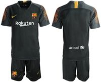 Mens 19-20 Soccer Barcelona Club (custom Made) Black Goalkeeper Short Sleeve Suit Jersey
