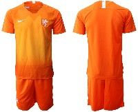 Mens 19-20 Soccer Holland Ntaional Team ( Custom Made ) Orange Home Nike Short Sleeve Suit Jersey
