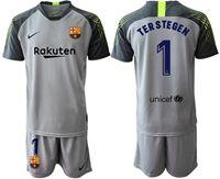 Mens 19-20 Soccer Barcelona Club #1 Marc-andre Ter Stegen Gray Short Sleeve Suit Jersey
