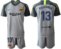 Mens 19-20 Soccer Barcelona Club #13 Jasper Cillessen Gray Short Sleeve Suit Jersey