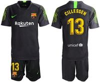 Mens 19-20 Soccer Barcelona Club #13 Jasper Cillessen Black & Green Goalkeeper Short Sleeve Suit Jersey