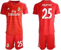 Mens 19-20 Soccer Real Madrid Club #25 Thibaut Courtois Red Goalkeeper Short Sleeve Suit Jersey