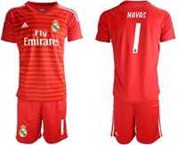 Mens 19-20 Soccer Real Madrid Club #1 Keylor Navas Red Goalkeeper Short Sleeve Suit Jersey