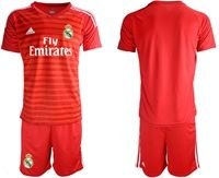 Mens 19-20 Soccer Real Madrid Club Blank Red Goalkeeper Short Sleeve Suit Jersey