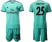 Mens 19-20 Soccer Real Madrid Club #25 Thibaut Courtois Green Short Sleeve Suit Jersey