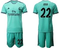 Mens 19-20 Soccer Real Madrid Club #22 Isco Green Short Sleeve Suit Jersey