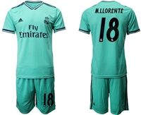 Mens 19-20 Soccer Real Madrid Club #18 M.llorente Green Short Sleeve Suit Jersey