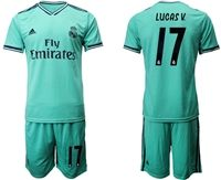 Mens 19-20 Soccer Real Madrid Club #17 Lucas Vazquez Green Short Sleeve Suit Jersey