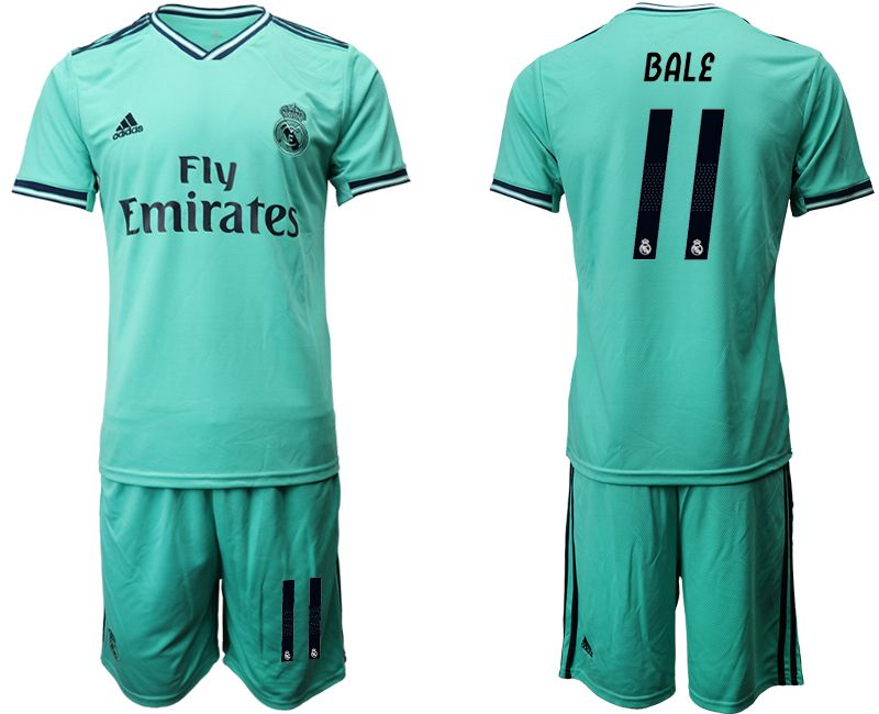 Mens 19-20 Soccer Real Madrid Club #11 Gareth Bale Green Short Sleeve Suit Jersey