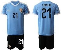 Mens 19-20 Soccer Uruguay National Team #21 Edinson Cavani Blue Home Short Sleeve Suit Jersey