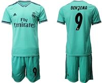 Mens 19-20 Soccer Real Madrid Club #9 Karim Benzema Green Short Sleeve Suit Jersey