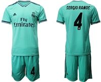 Mens 19-20 Soccer Real Madrid Club #4 Sergio Ramos Green Short Sleeve Suit Jersey