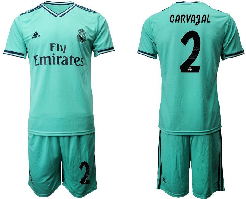 Mens 19-20 Soccer Real Madrid Club #2 Dani Carvajal Green Short Sleeve Suit Jersey