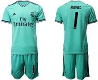 Mens 19-20 Soccer Real Madrid Club #1 Keylor Navas Green Short Sleeve Suit Jersey