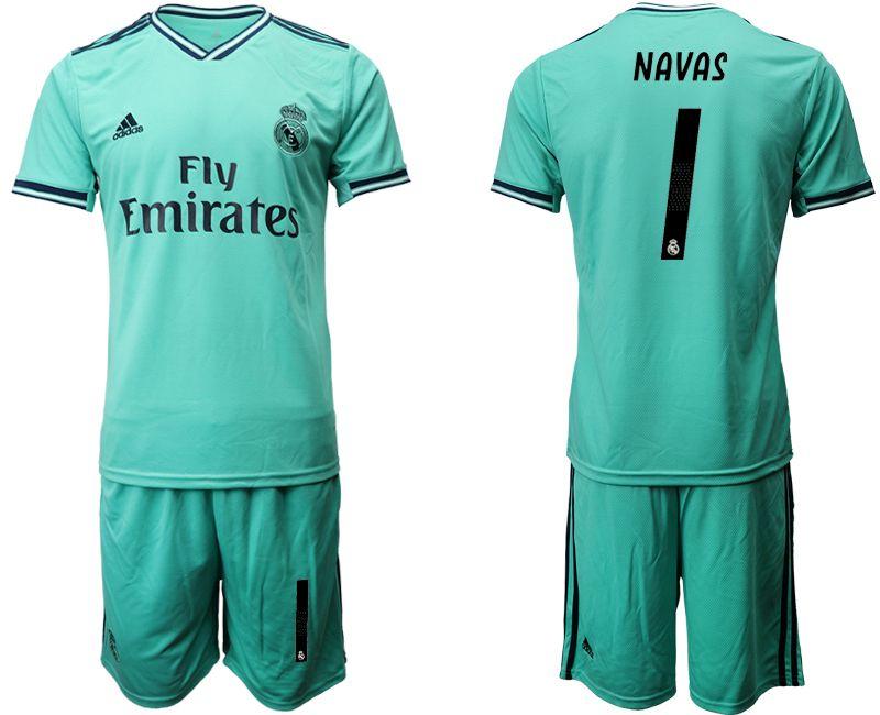 Mens 19-20 Soccer Real Madrid Club #1 Keylor Navas Green Short Sleeve Suit Jersey