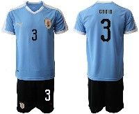 Mens 19-20 Soccer Uruguay National Team #3 Diego Godin Gimenez Blue Home Short Sleeve Suit Jersey
