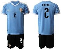 Mens 19-20 Soccer Uruguay National Team #2 Jose Maria Gimenez Blue Home Short Sleeve Suit Jersey
