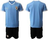 Mens 19-20 Soccer Uruguay National Team Blank Blue Home Short Sleeve Suit Jersey