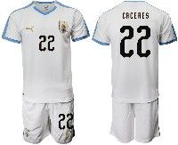 Mens 19-20 Soccer Uruguay National Team #22 Martin Caceres White Home Short Sleeve Suit Jersey