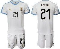 Mens 19-20 Soccer Uruguay National Team #21 Edinson Cavani White Home Short Sleeve Suit Jersey