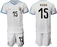 Mens 19-20 Soccer Uruguay National Team #15 Matias Vecino White Home Short Sleeve Suit Jersey